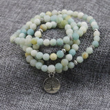 6mm Frosted Amazonite Tree of Life 108 Mala Bracelet