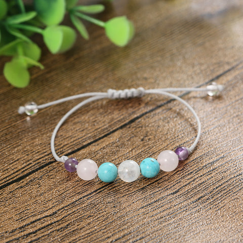 Genuine Moonstone Energy Bracelet with Semi-Precious Stones