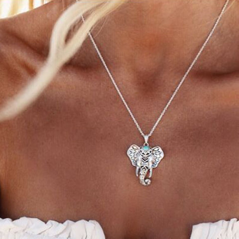 Antique Turquoise Elephant Necklace Pendant
