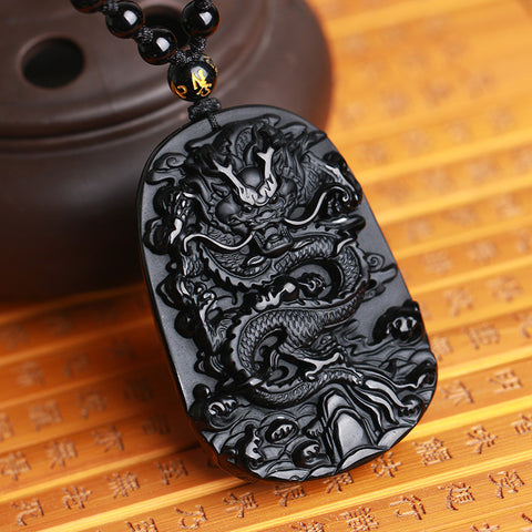 Natural Black Obsidian Carving Dragon Lucky Amulet Pendant Necklace