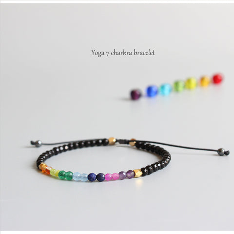7 Chakra with Black Agate Healing Bracelet