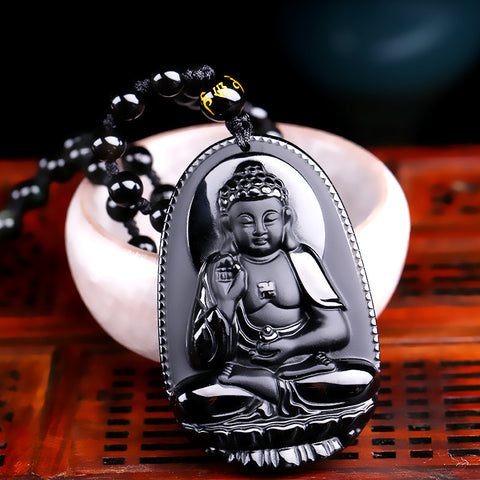 Natural Black Obsidian Carved Buddha Amulet Pendant Necklace