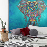Indian Elephant Mandala Tapestry Wall Hanging