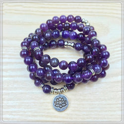 Healing and Strength Amethyst 108 Beads Mala Bracelet
