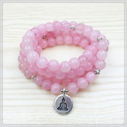 Love 108 Rose Quartz Mala Beads Bracelet / Yoga Necklace