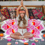 Bohemian Mandala Lotus Flower Yoga Mat and Beach Towel
