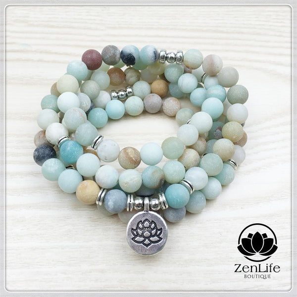 Matte Amazonite 108 Mala Beads Bracelet with Lotus Charm
