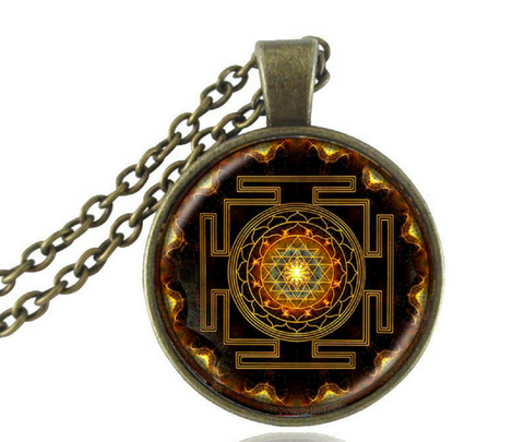 Sacred Geometry Sri Yantra Pendant Necklace