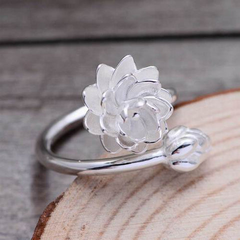 925 Sterling Silver Lotus Flower Ring