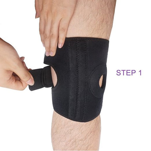 Knee Support by Bodyprox, Black Breathable Knee Brace - Adjustable Size.