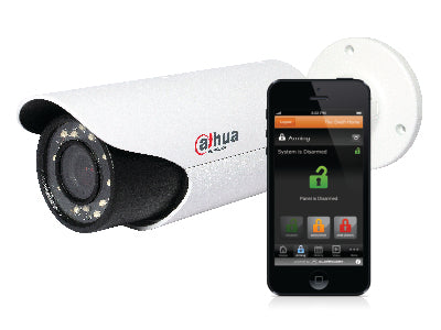 A CCTV Camera and a smart phone with a security access app