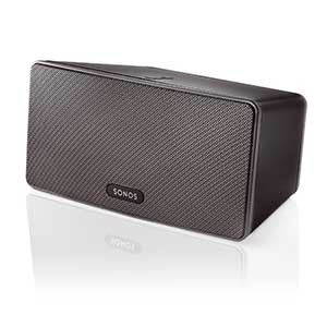 black sonos Play 3 wireless speaker with the sonos logo at the bottom