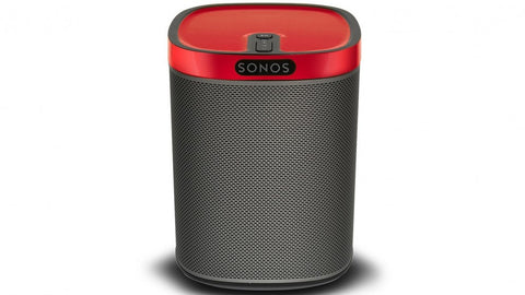 sonos Play 1 compact wireless speaker with racing red gloss colourplay skin
