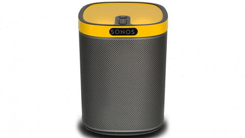 sonos Play 1 compact wireless speaker with sunflower yellow gloss colourplay skin