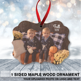 1 Sided Scalloped Maple Wood Ornament