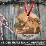 1 Sided Round Maple Wood Ornament