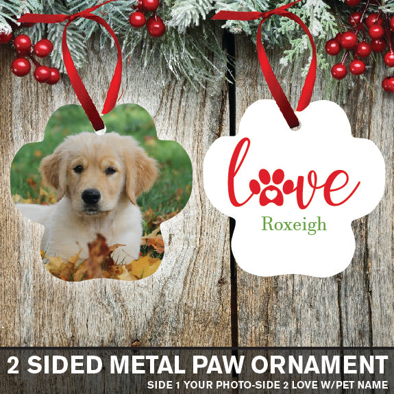2 Sided Metal Love Paw Christmas Ornament