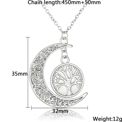Glowing Crescent Moon and Tree of Life Necklace