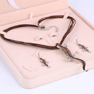 Hot! Lizard Necklace + Earrings Set