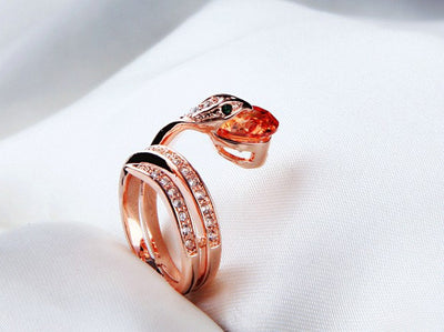 Crystal Snake Keeper Ring