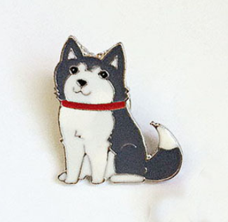Adorable Husky Pin