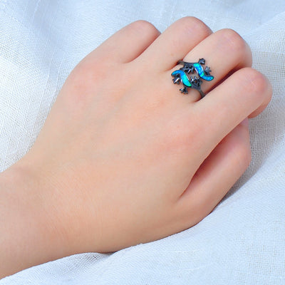 Blue Fire Opal Lizard Ring