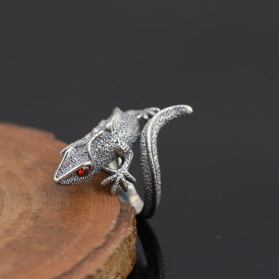 Ember Eyes Sterling Silver Lizard Ring