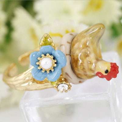 Handmade Enamel Chicken Ring