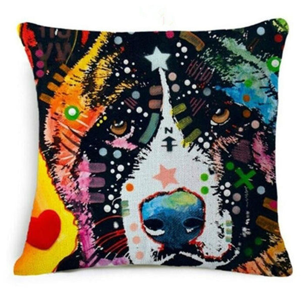 Friendly Paw Colorful Oil Painting Pillow Covers