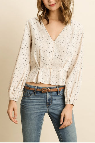Dress Forum Polka Dot Button Down Blouse