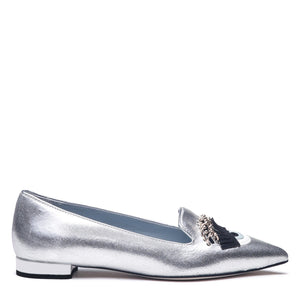 "Chiara Ferragni - LAMINATED SILVER LEATHER ""FLIRTING"" POINTY SLIPPERS"