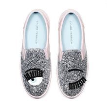 "Load image into Gallery viewer, Chiara Ferragni - SILVER GLITTER ""FLIRTING"" SLIP-ONS"