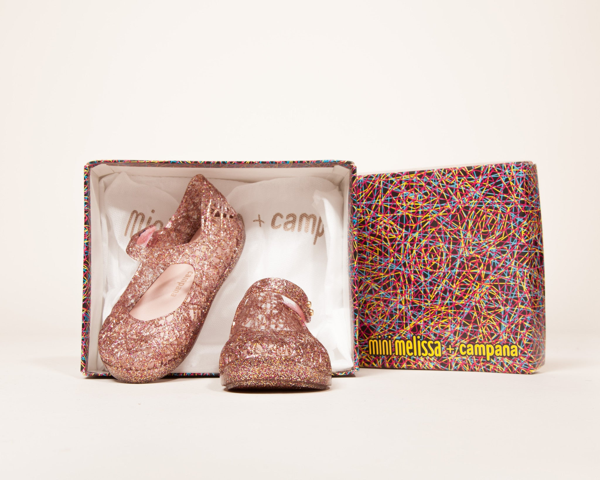 5683eb76dd01 Mini Melissa - CAMPANA Zig Zag in Rosegold – Banana Shoes
