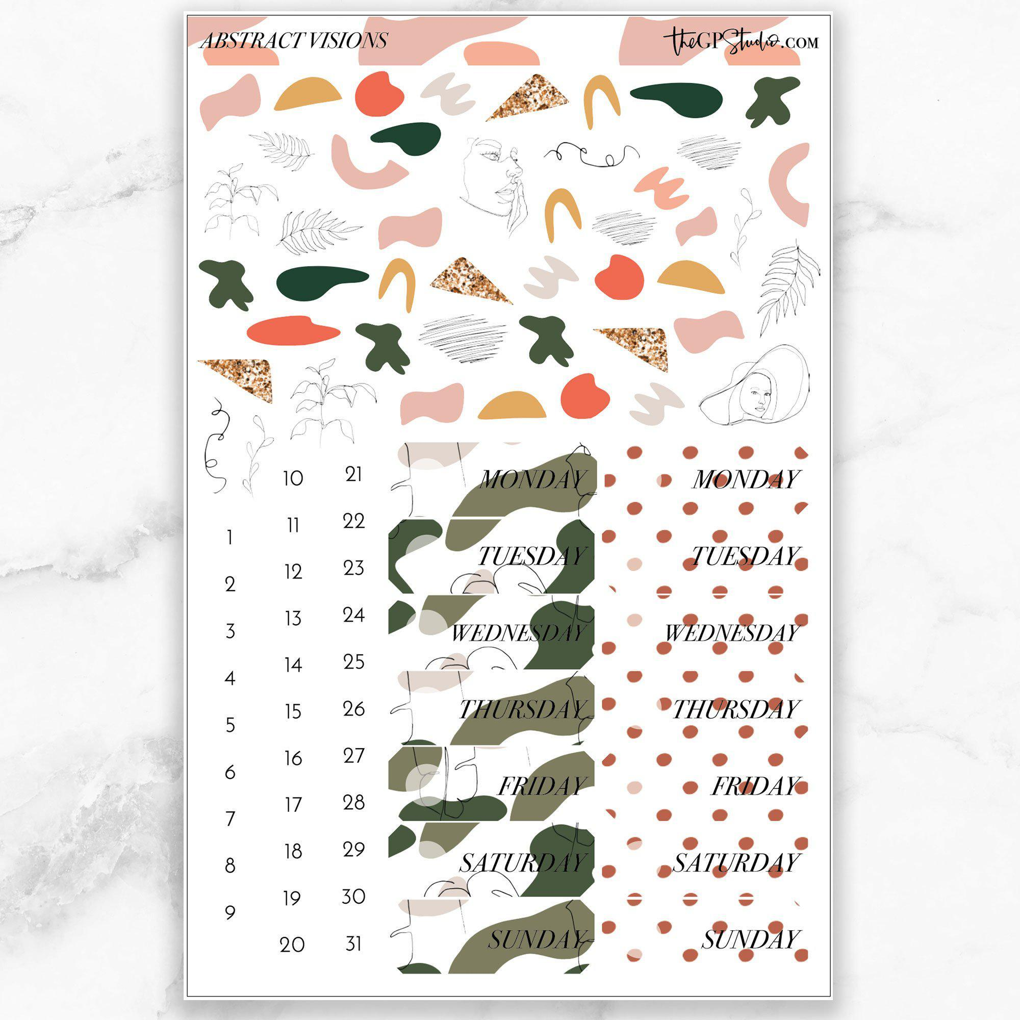 ABSTRACT VISIONS Deco & Date Cover Stickers-The GP Studio