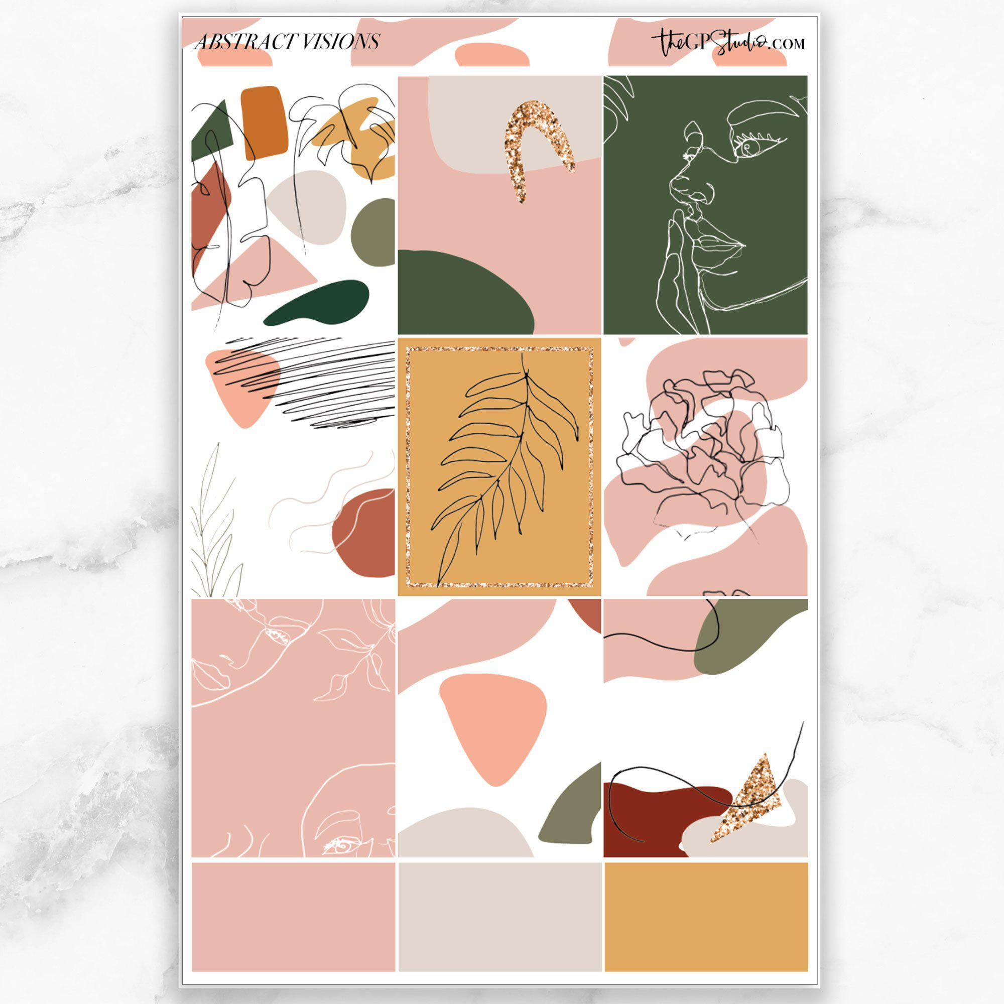 ABSTRACT VISIONS Full Boxes Planner Stickers-The GP Studio