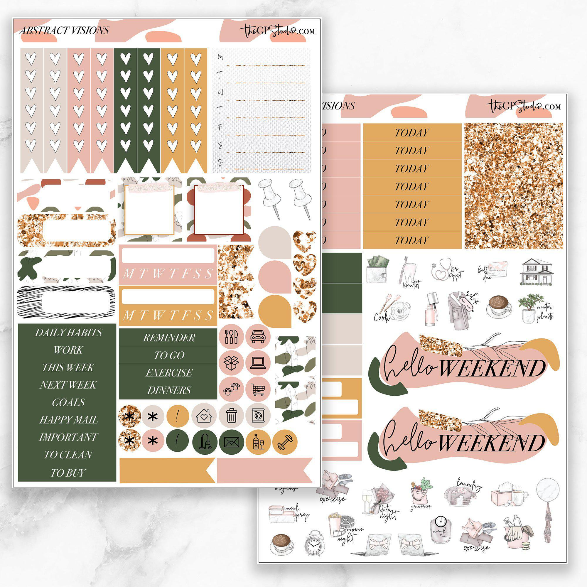 ABSTRACT VISIONS Functional Planner Sticker Kit-The GP Studio