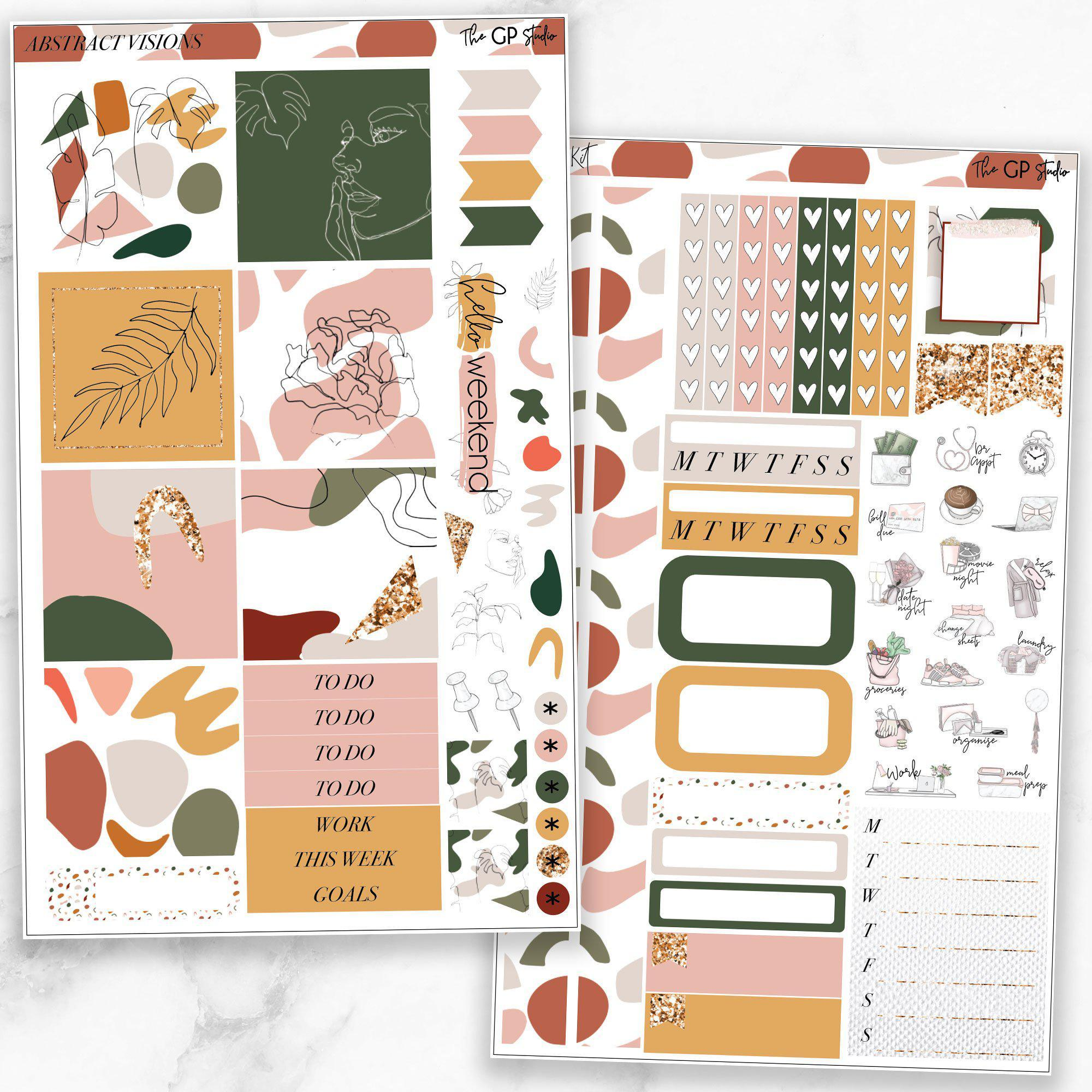 ABSTRACT VISIONS Mini Size Planner Sticker Kit-The GP Studio
