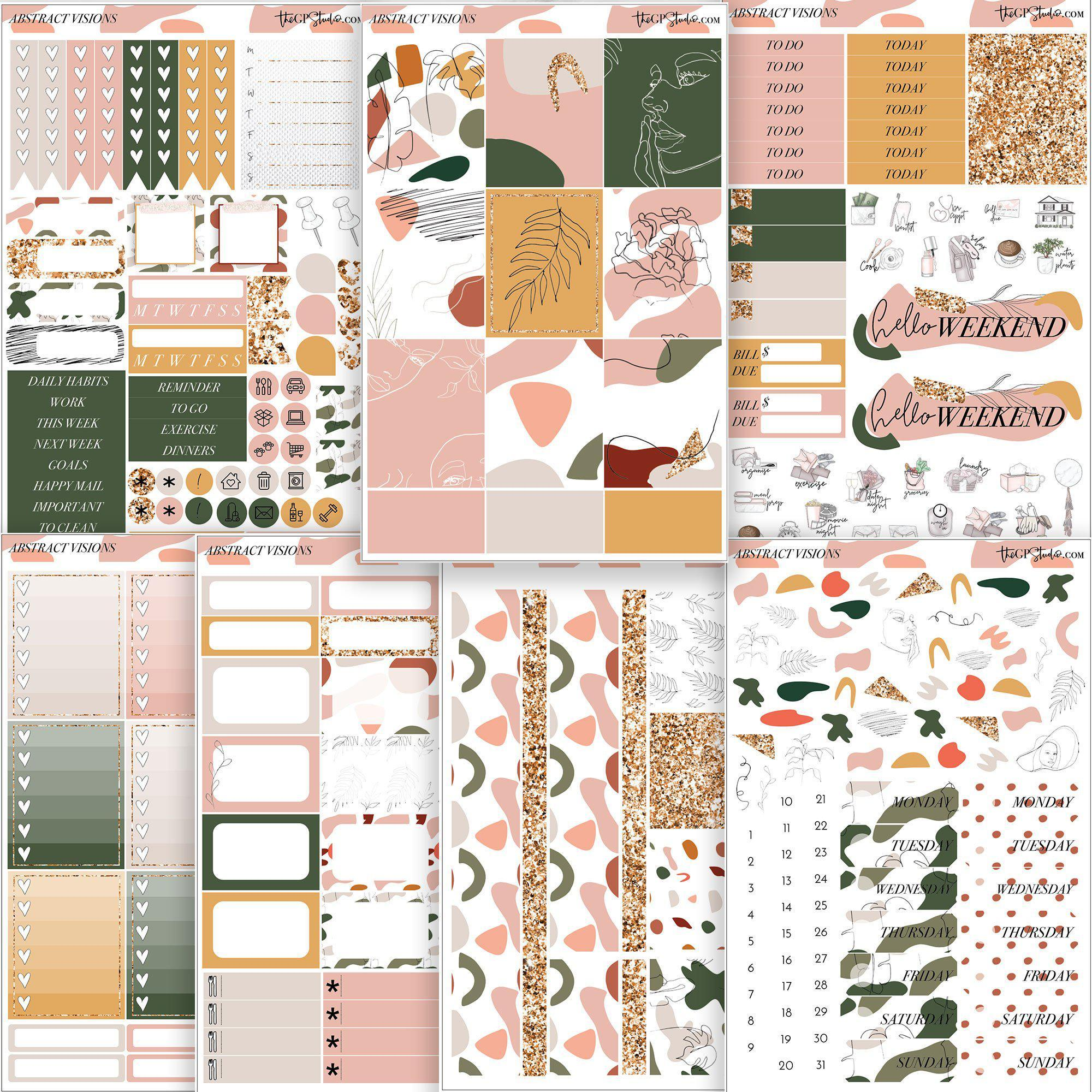 ABSTRACT VISIONS Planner Sticker Kit-The GP Studio