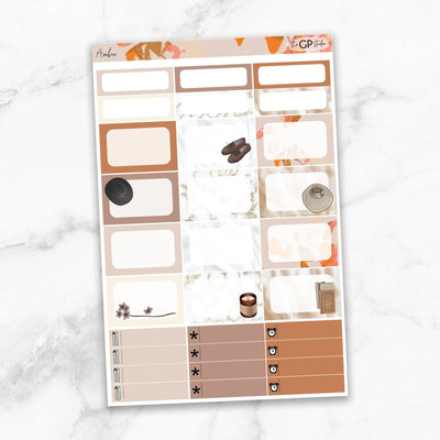 AMBER Half Boxes Planner Stickers-The GP Studio
