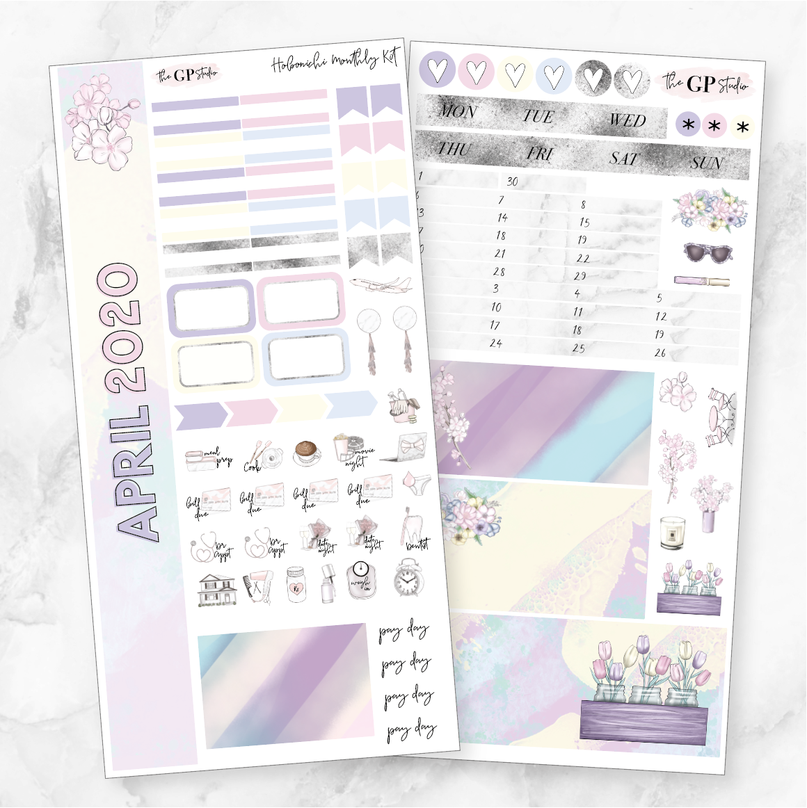 APRIL 2020 MONTHLY Sticker Kit Hobonichi Week's Size-The GP Studio