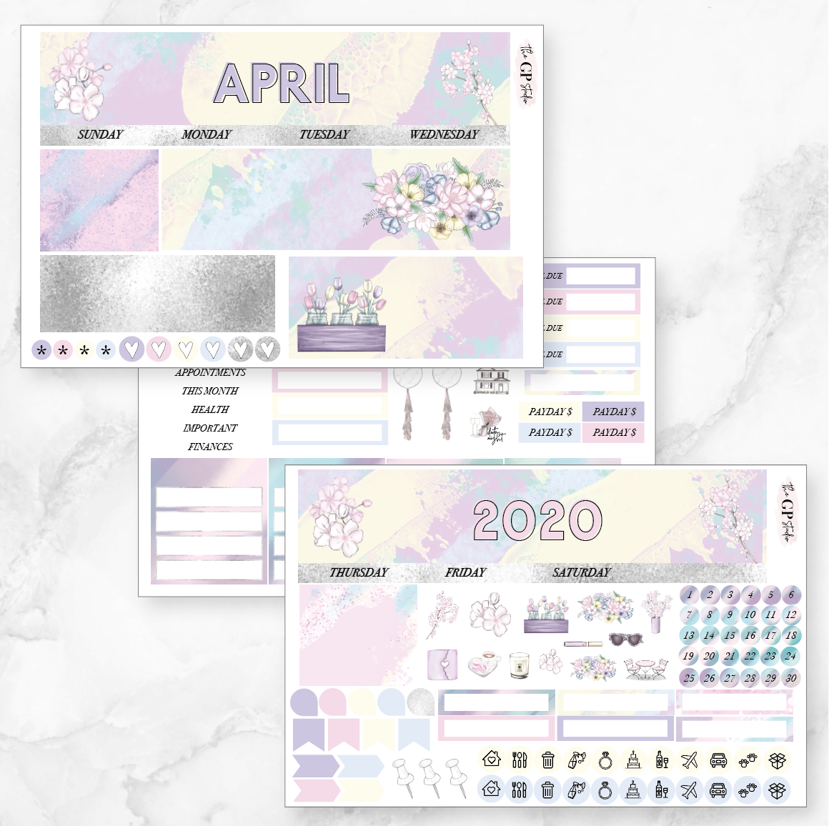 APRIL 2020 Monthly View Sticker Kit Erin Condren Size-The GP Studio