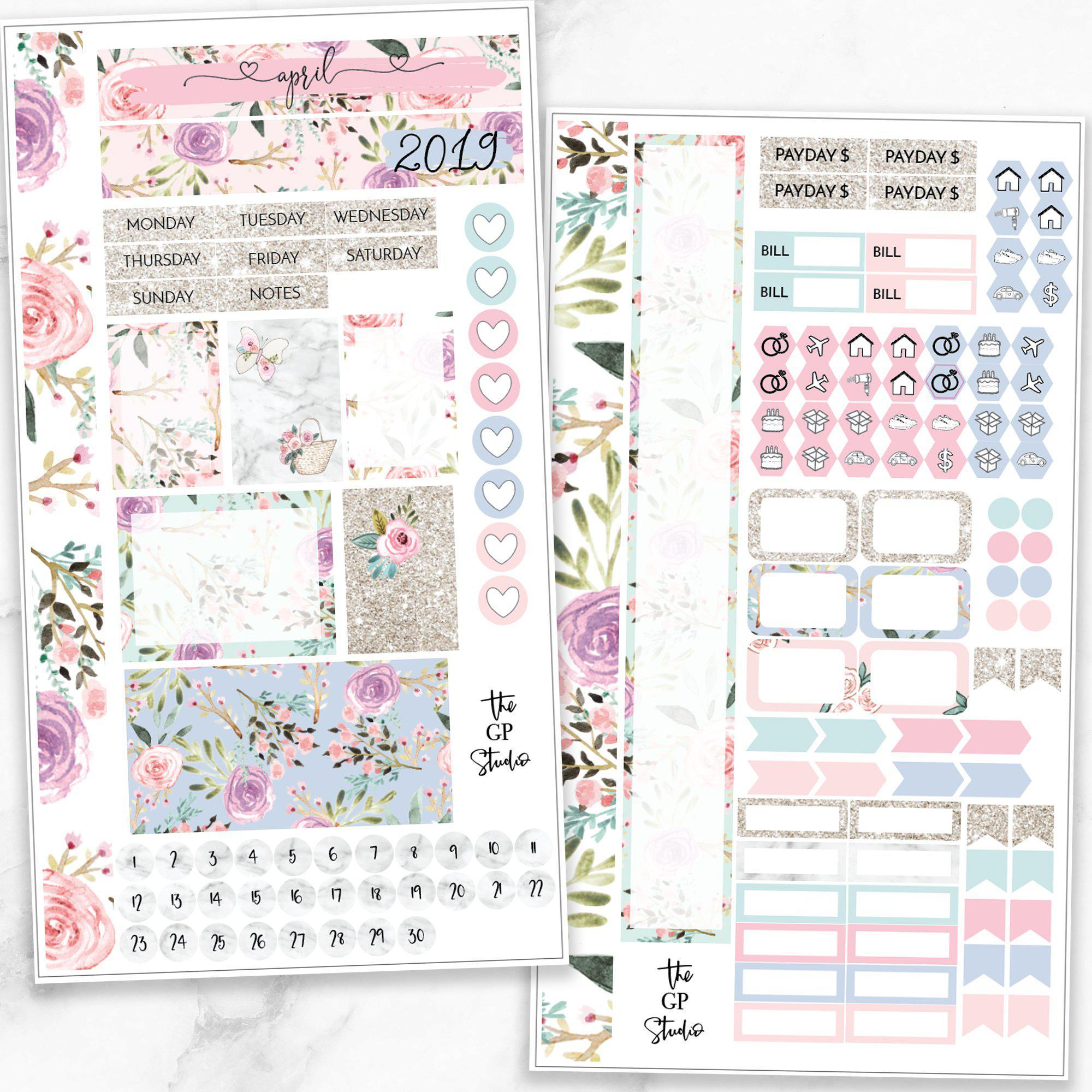 APRIL MONTHLY VIEW Personal/TN Size Stickers-The GP Studio