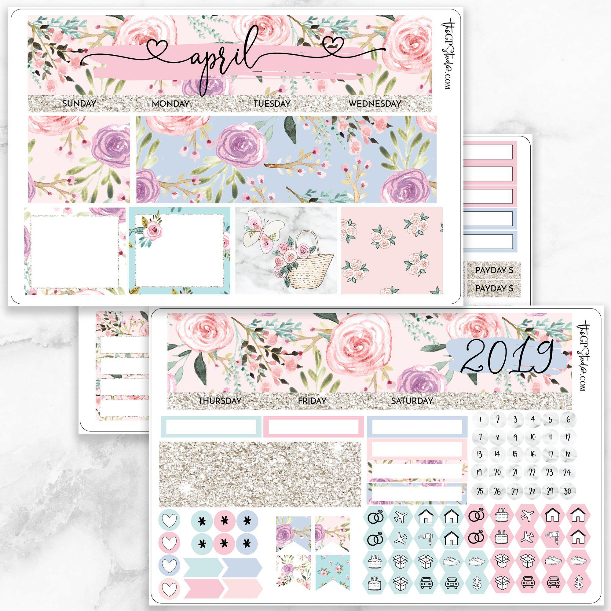 APRIL Monthly View Sticker Kit Erin Condren Size-The GP Studio
