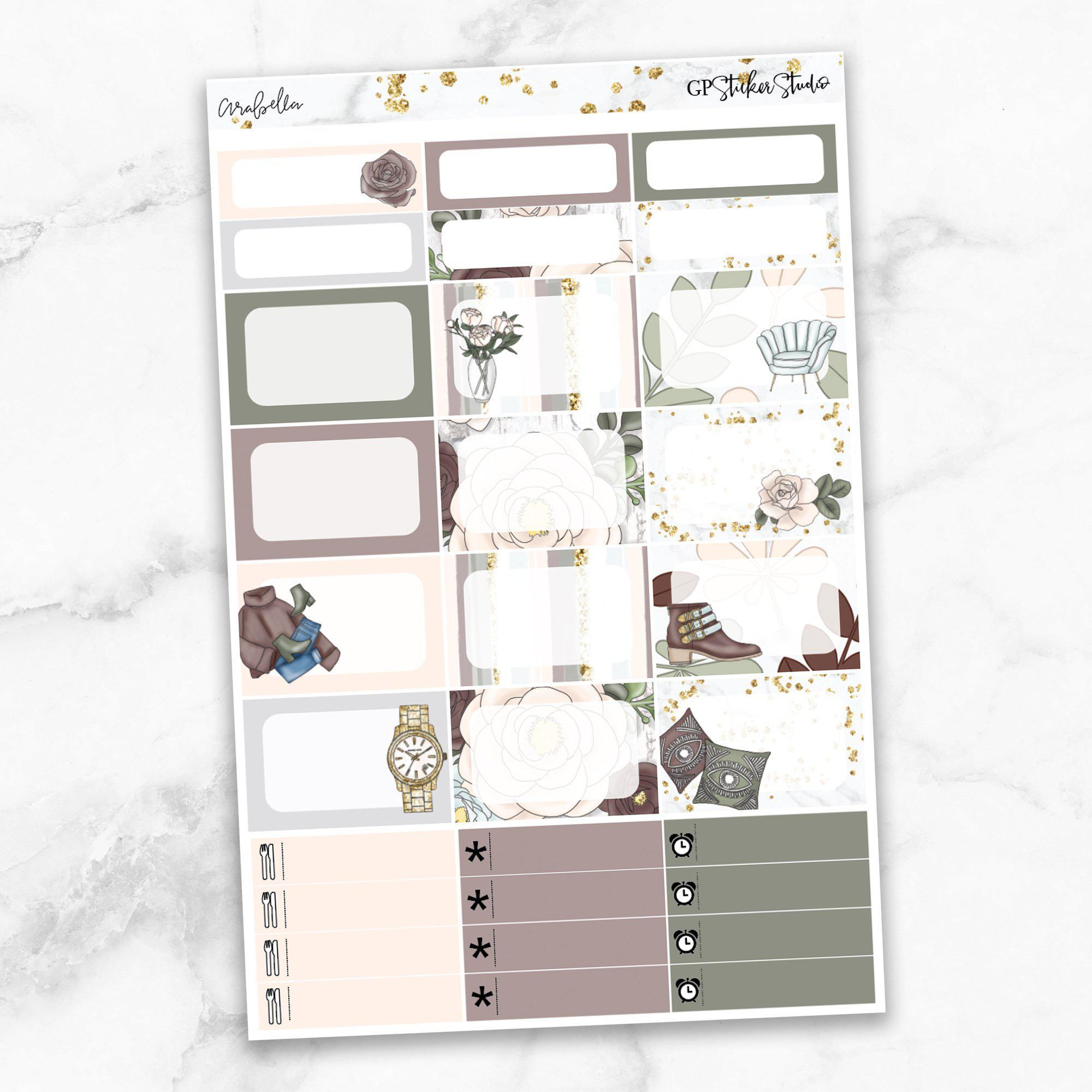 ARABELLA Half Boxes Planner Stickers-The GP Studio