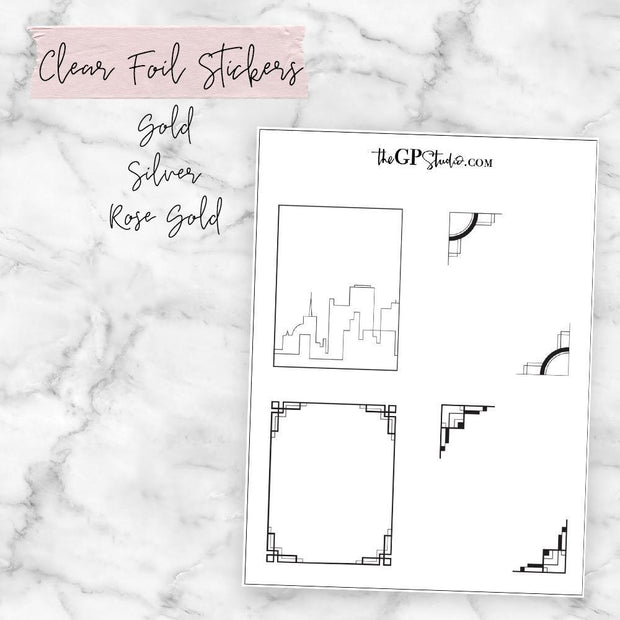 Art Deco Clear Foil Overlay Full Boxes-The GP Studio