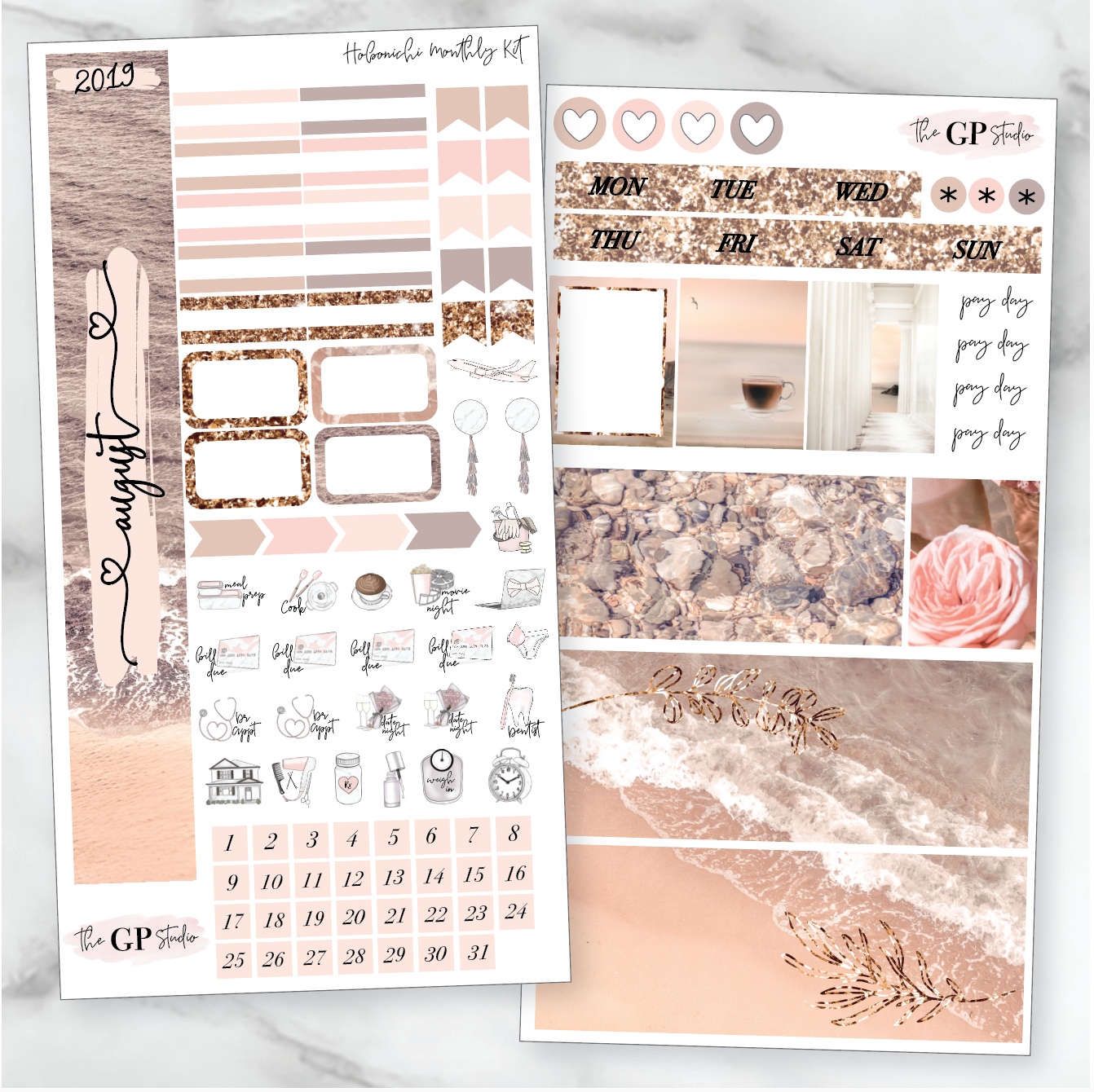 AUGUST MONTHLY Sticker Kit Hobonichi Week's Size-The GP Studio