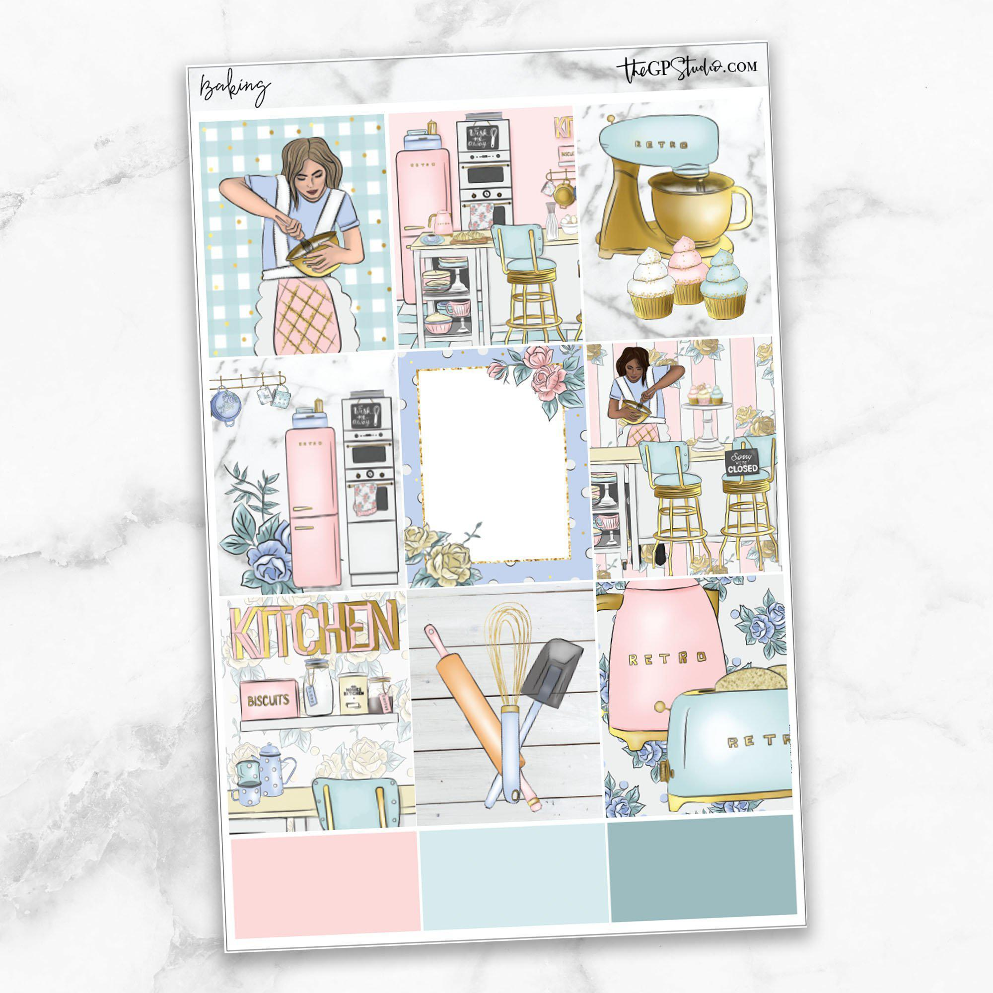 BAKING Full Boxes Planner Stickers-The GP Studio