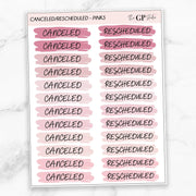 BASIC CANCELED/RESCHEDULED SCRIPT STICKERS-The GP Studio