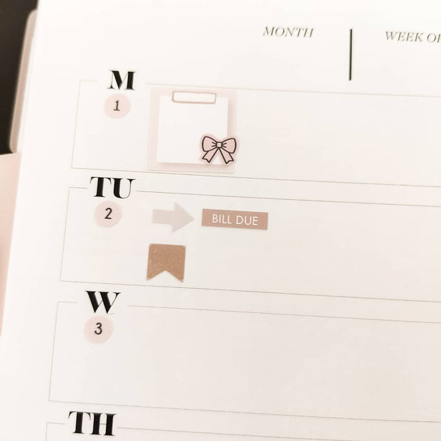 Basic FUNCTIONAL STICKERS PLANNER BUNDLE - Cappucino - Perfect for Functional & Minimal Planners-The GP Studio