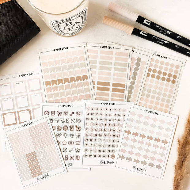 Basic FUNCTIONAL STICKERS PLANNER BUNDLE - SMOKY QUARTZ - Perfect for Functional & Minimal Planners-The GP Studio
